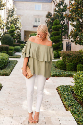 style archives | the style scribe blogger dress shoes shorts jeans skirt off the shoulder green ruffle white pants white jeans sandals off the shoulder top ruffled top bag nude bag sandal heels high heel sandals nude sandals