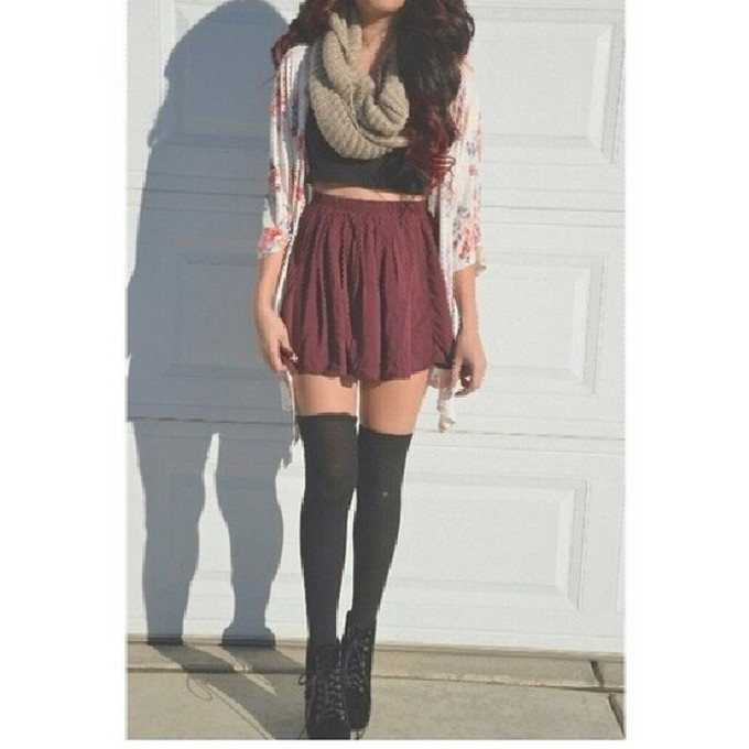 scarf skirt cardigan red skater skirt black top sommer sweet scarf red
