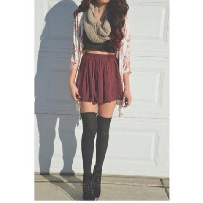 scarf skirt red skater skirt cardigan black top sommer sweet scarf red