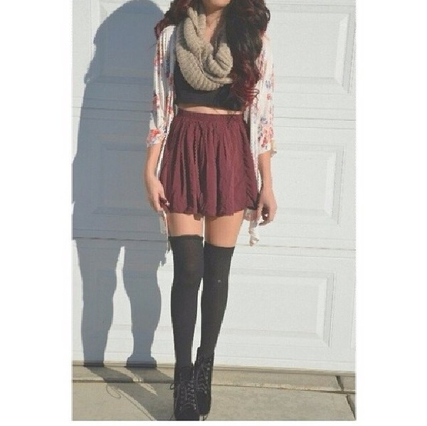 skirt cardigan black top sommer sweet red skater skirt scarf