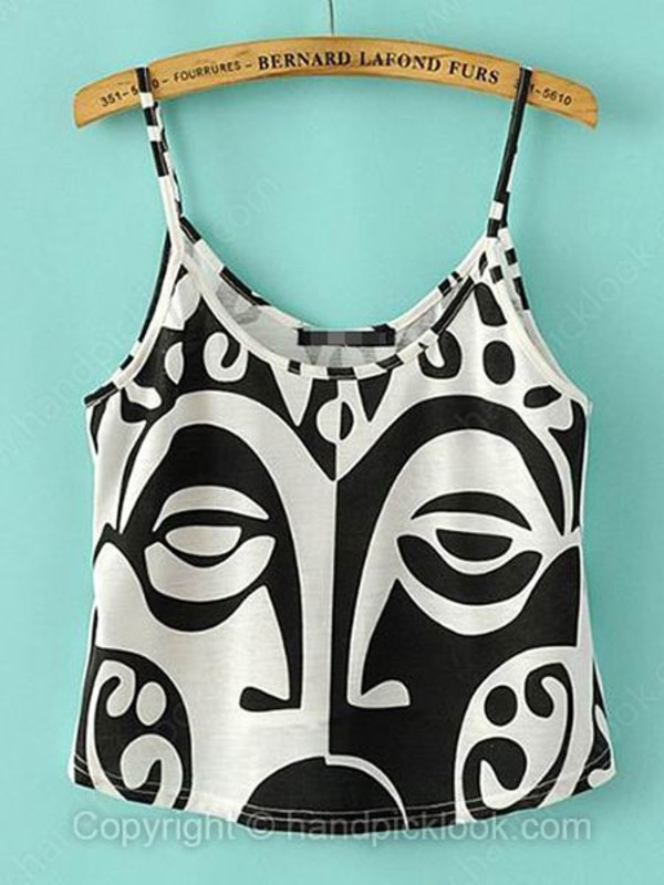 top tank top summer top print top summer vest spegehtti strap tops white and black tshirt