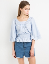top,blue lace bell sleeve top by new revival,lace top,blue lace top,cute top,bell sleeve top,new revival,cotton top,fitted top,elastic waist top,lace bell sleeve top,pixiemarket,bell sleeves,cotton