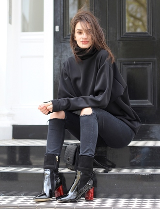 peexo blogger socks ripped jeans black boots black sweater patent boots turtleneck sweatshirt black ripped jeans black jeans skinny jeans ankle boots high heels boots