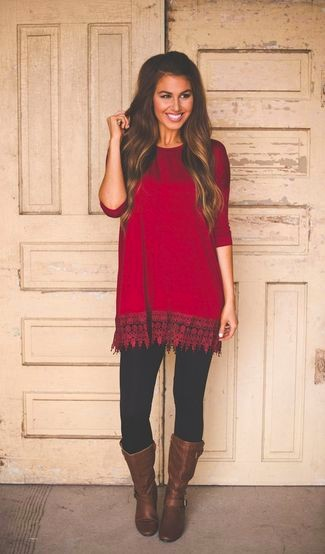 Women's black leggings, red tunic, and dark brown leather knee high boots