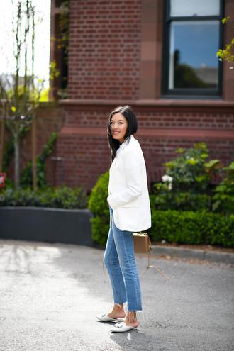 jacket blazer jeans mules white mules bag