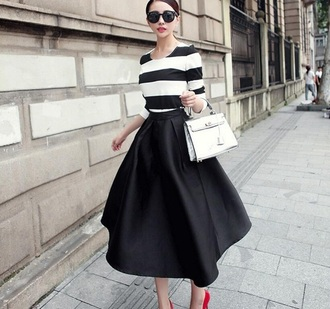 skirt black midi skirt fashion style fall outfits trendy feminine girly musheng