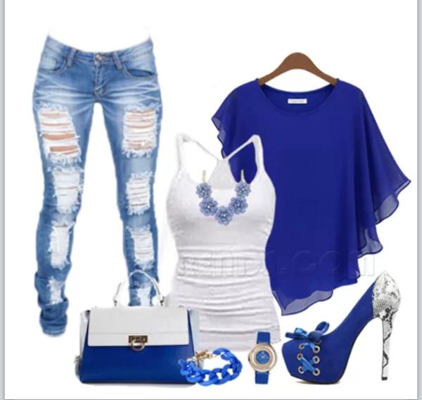 blouse shoes jewels jeans bag