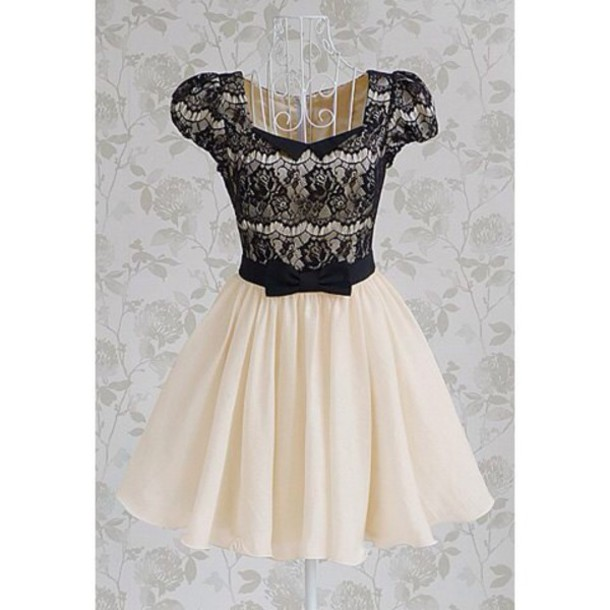 dress lace dress short sleeve dress cream dress black lace dress ribbon dress bow dress black lace cream girly bow