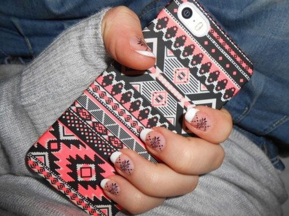 aztec black pink phone case white iphone 5 case
