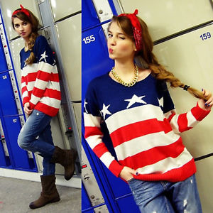 Fashion American Flag Unisex Womens Mens Lover Pullover Jumper Tops Sweater E | eBay