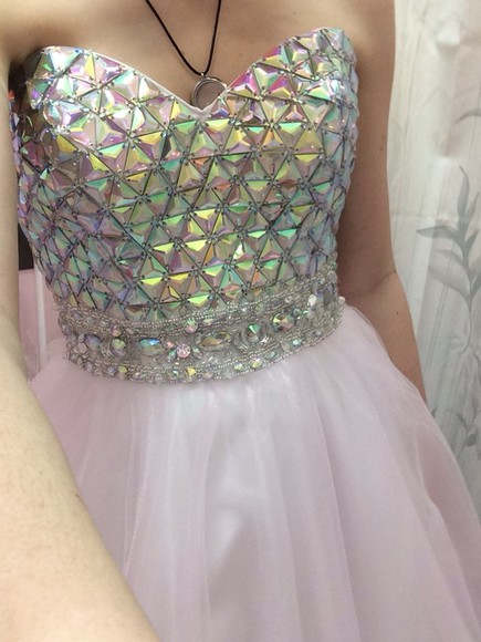 dress prom dress pink white dress long prom dress white gems jewels flowy