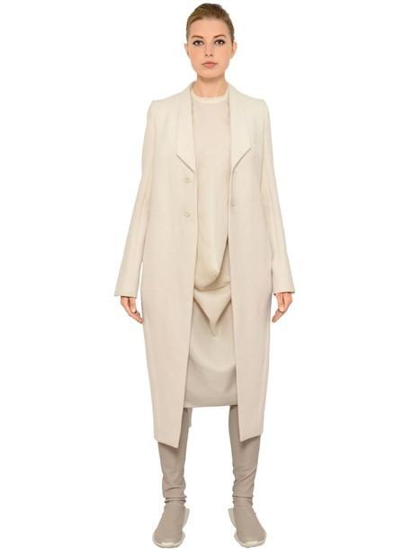 RICK OWENS Cotton & Silk Long Jacket in ecru