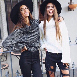 sweater floppy hat cute sweaters ripped jeans