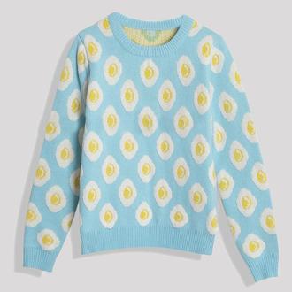 sweater egg blue print egg sweater top light blue aesthetic