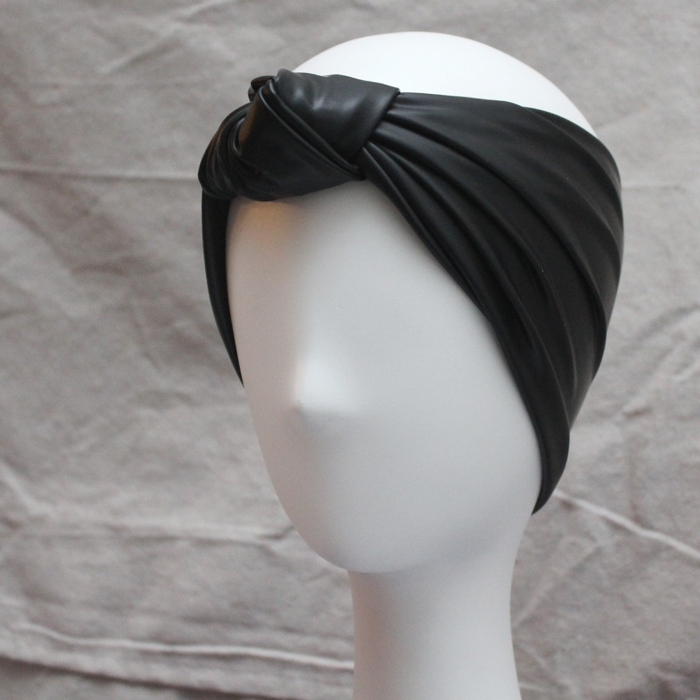 Black faux leather knot headband turban hairband urban turban hair band head wrap american hustle studio 54