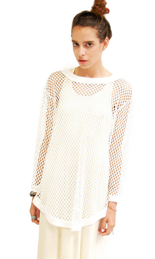 Mesh Sweater White - RAW-GIRLS CLOTHING