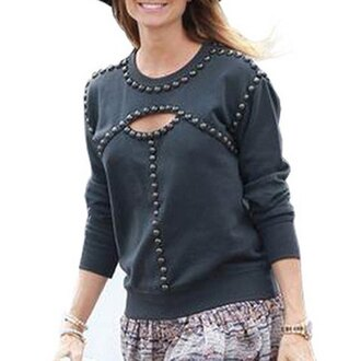 sweater studs black grey fashion style cool trendy fall outfits cute outfits