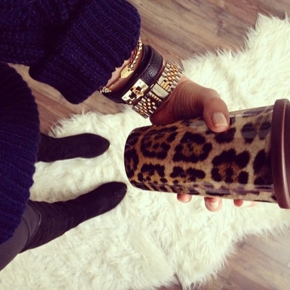 leopard print animal print style cheetah print jewels mug print pattern instagram travel mug