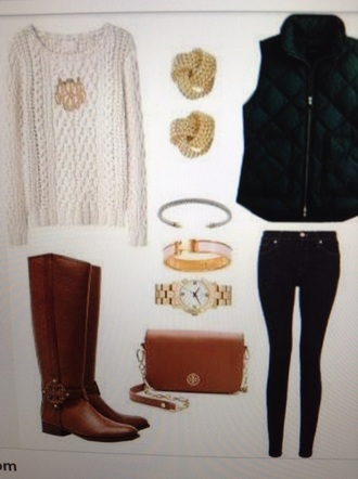 sweater style vest jeans pants boots brown white green accessories jewels jewelry bracelets