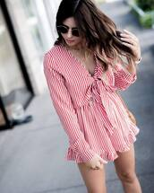 romper,long sleeve romper,tumblr,red romper,long sleeves,stripes,necklace,gold necklace,jewels,jewelry,gold jewelry,sunglasses,round sunglasses,sunnies,accessories,Accessory