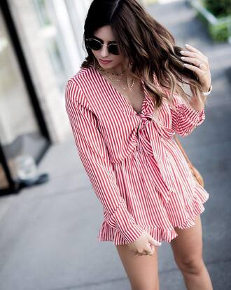 romper long sleeve romper tumblr red romper long sleeves stripes necklace gold necklace jewels jewelry gold jewelry sunglasses round sunglasses sunnies accessories accessory