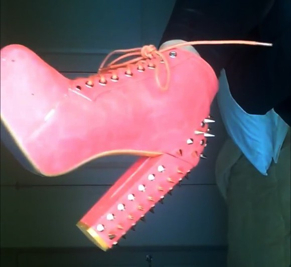 boots platform shoes pink/orange pink and orange shoes studded shoes