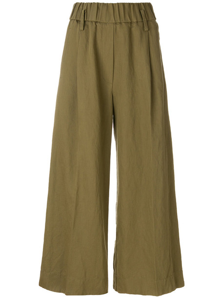 Forte Forte embroidered women cotton green pants