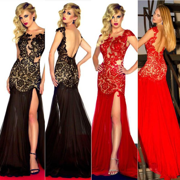 mermaid prom dress prom dress evening dress red lace dress black lace dress long see through backless dress prom