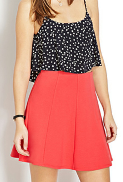 skirt polka dots blouse