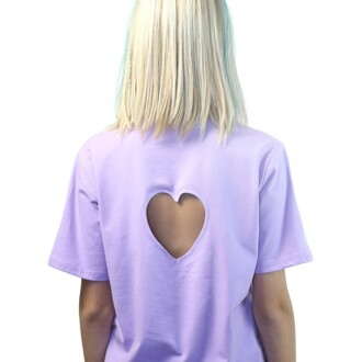 t-shirt lilac fashion heart cut-out style love trendy teenagers summer spring boogzel