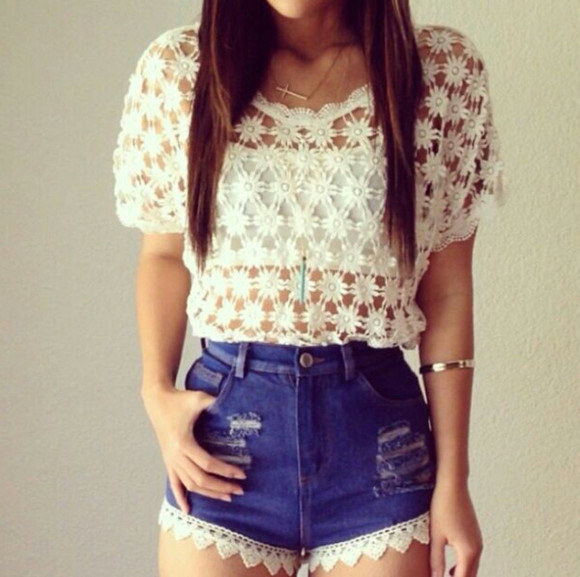 laced shorts denim blouse white jeans blue, high waist, ripped lace shirt daisy beautiful t-shirt denim shorts High waisted shorts top floral