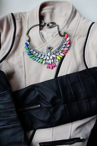 jewels jacket leather brown black dark outfit summer winter outfits neon necklace cute vintage hipster bohemian leather jacket autumn statement necklace