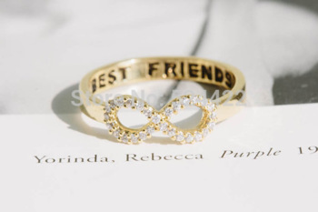 Min 1pc Crystal Rhinestone best friend letter gold/silver/rose gold infinity rings,eternity rings JZ023-in Rings from Jewelry on Aliexpress.com | Alibaba Group