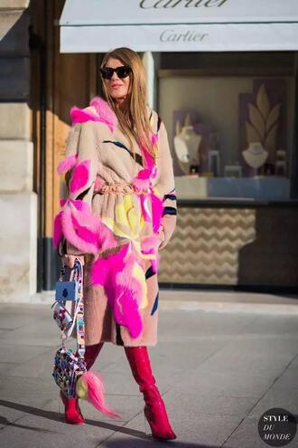 coat pink winter outfit pink coat multicolor bag printed bag boots pink boots high heels boots sunglasses black sunglasses anna dello russo streetstyle winter outfits winter look