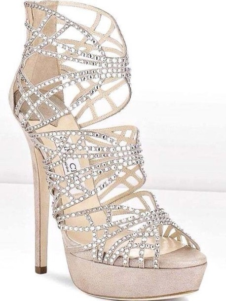 Shoes: dimonds, high heels, glitter shoes, prom shoes, silver ...