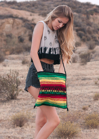 bag rasta hippie boho bohemian purse mexican aztec mexican blanket beach