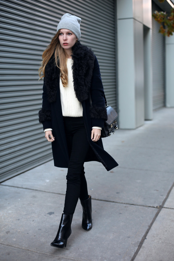 coat hat sweater jeans bag shoes