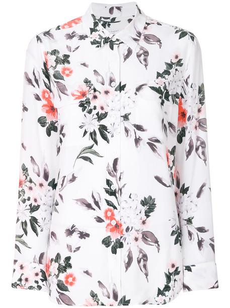 Equipment shirt women floral white print silk top