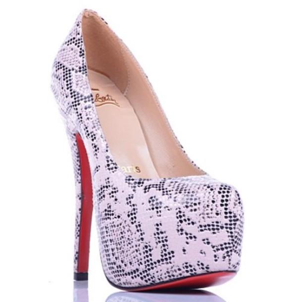 shoes platform high heels snake skin print