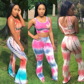 pants flare tie dye matching set jumpsuit tie dye shirt bell bottoms