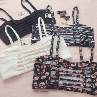 bandeau caged bralette caged floral top white top black top aztec summer top summer outfits crop tops tank top top