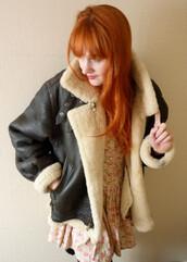 jacket,oversized,vintage,winter outfits,leather,sheepskin,aviator jacket