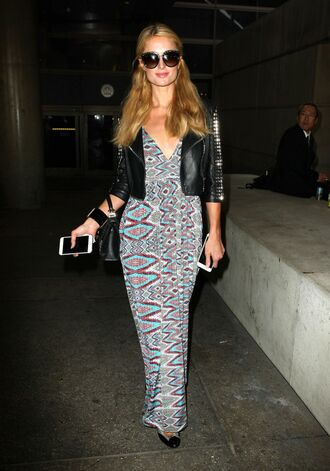 dress maxi dress paris hilton jacket printed dress plunge dress