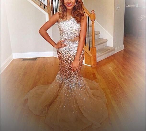 dress prom gold prom dress crystal