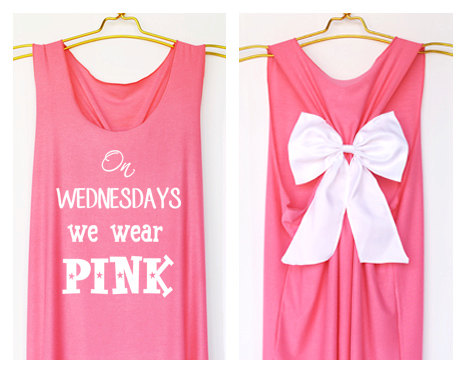 On wednesday we wear pink Tank Premium with Bow  by DollysBow