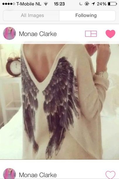sweater wings white black