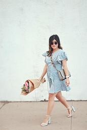 chictalk,blogger,dress,crossbody bag,sandals,blue dress,spring outfits