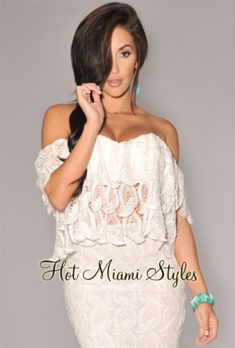 top blouse summer white crochet offshoulder