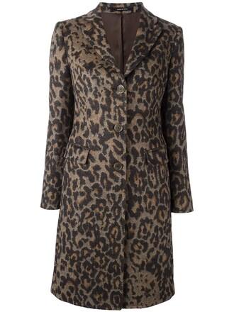 coat leopard print coat women print wool brown leopard print