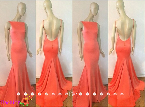 Sexy open back evening dress coral backless by fashionstreets
